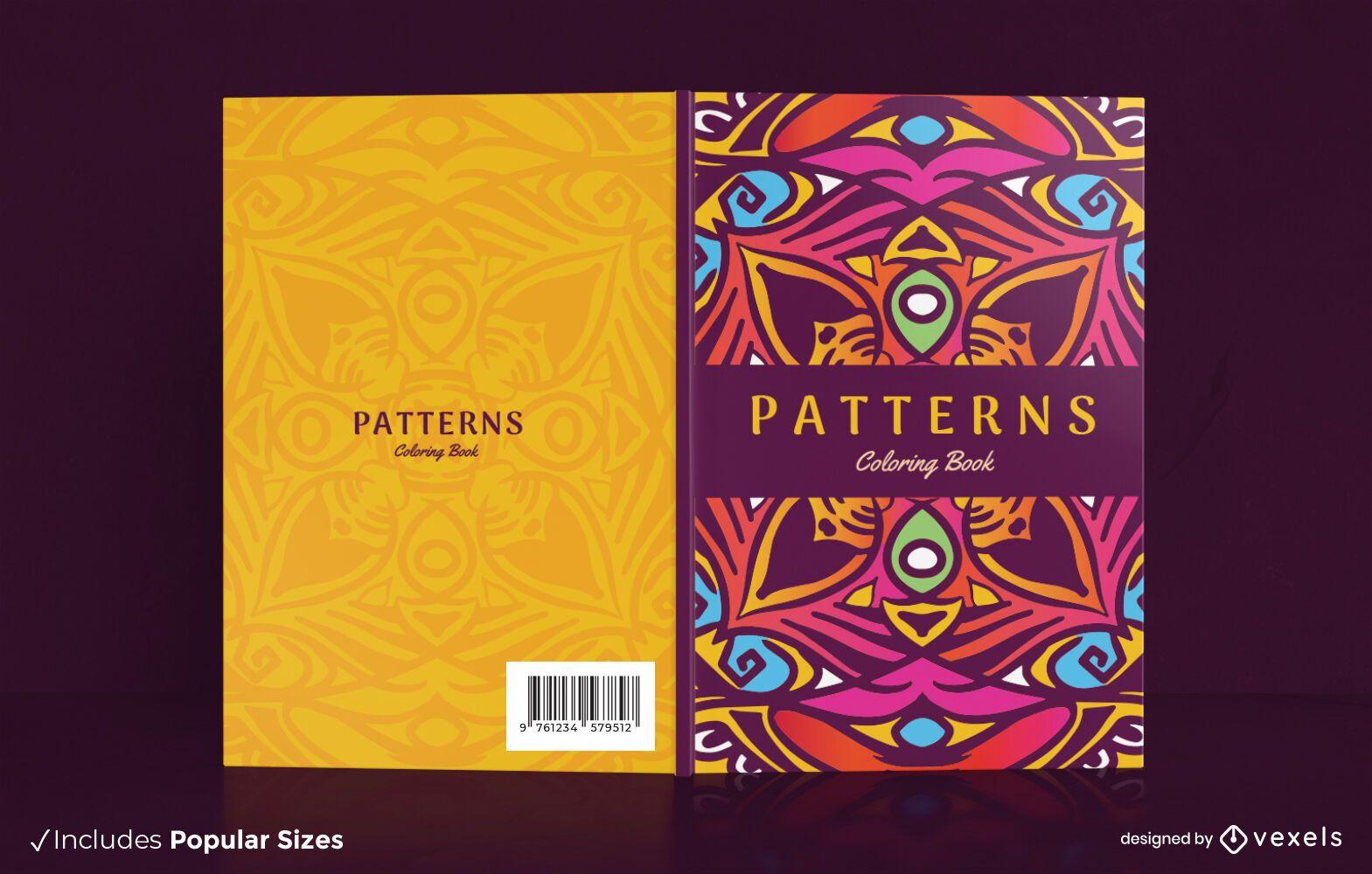 Diseño de portada de libro para colorear con patrón de mandala