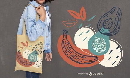 Hand drawn fruits tote bag design