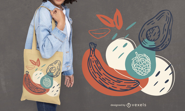 Desenho de sacola com frutas desenhadas à mão