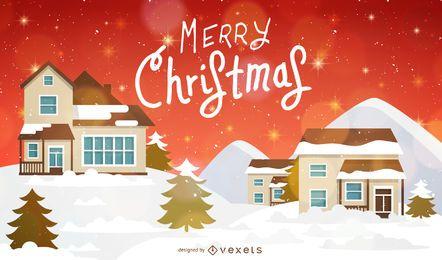 Fondo de Navidad con casas y nieve