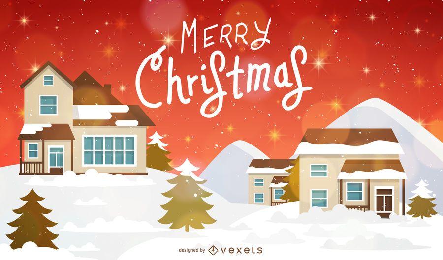 Antecedentes de Navidad con casas y nieve
