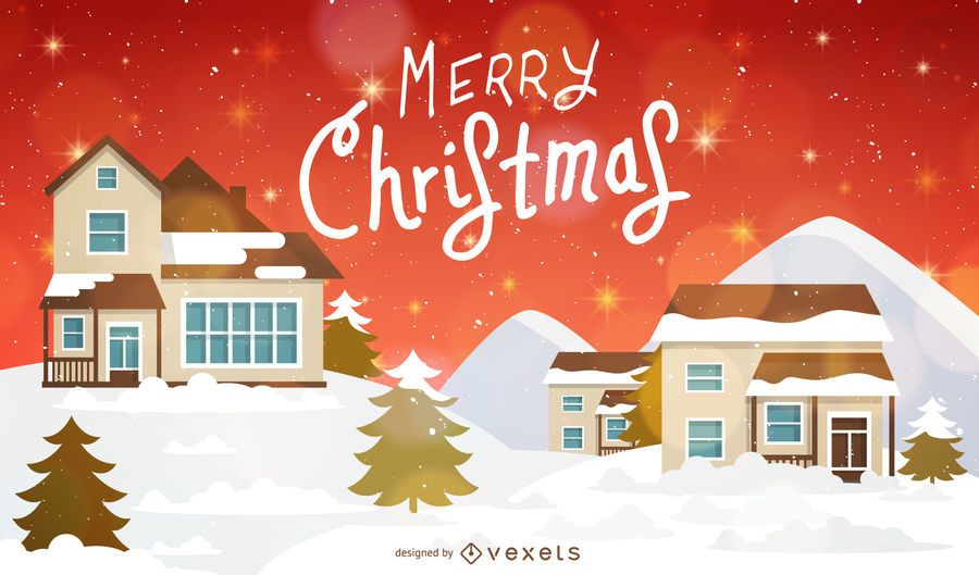 Christmas Background With Houses And Snow Vector Download