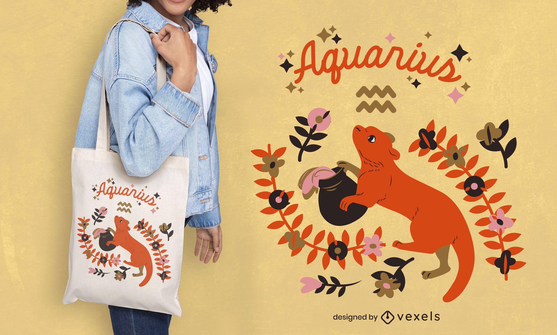 Aquarius zodiac tote bag design