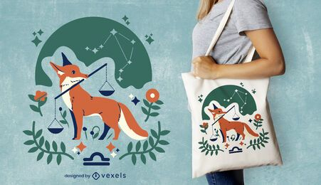 Diseño de la bolsa de asas del zodiaco libra