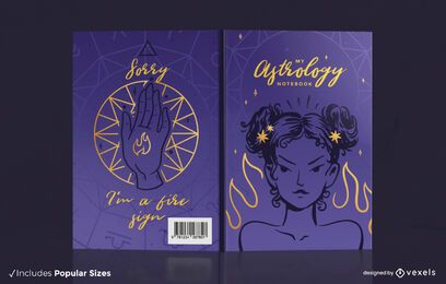 Astrology fire sign book cover design