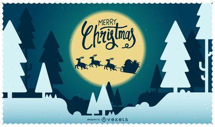 Ilustração de Natal com Papai Noel e silhueta de renas