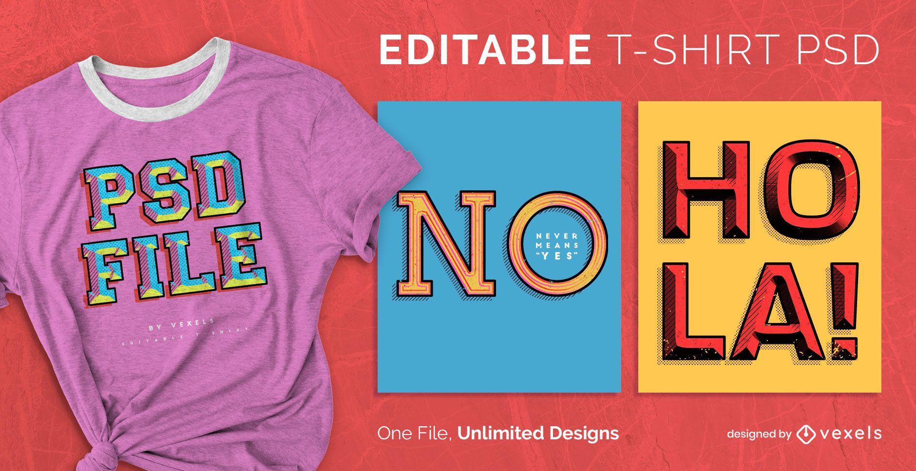 Diseño de camiseta escalable PSD con efecto de texto retro.