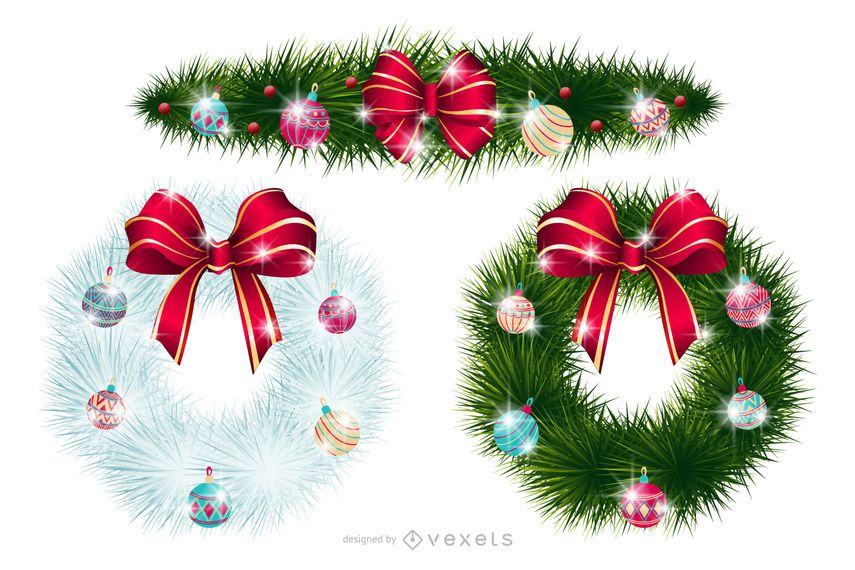 Xmas or Christmas Wreaths with Ornaments