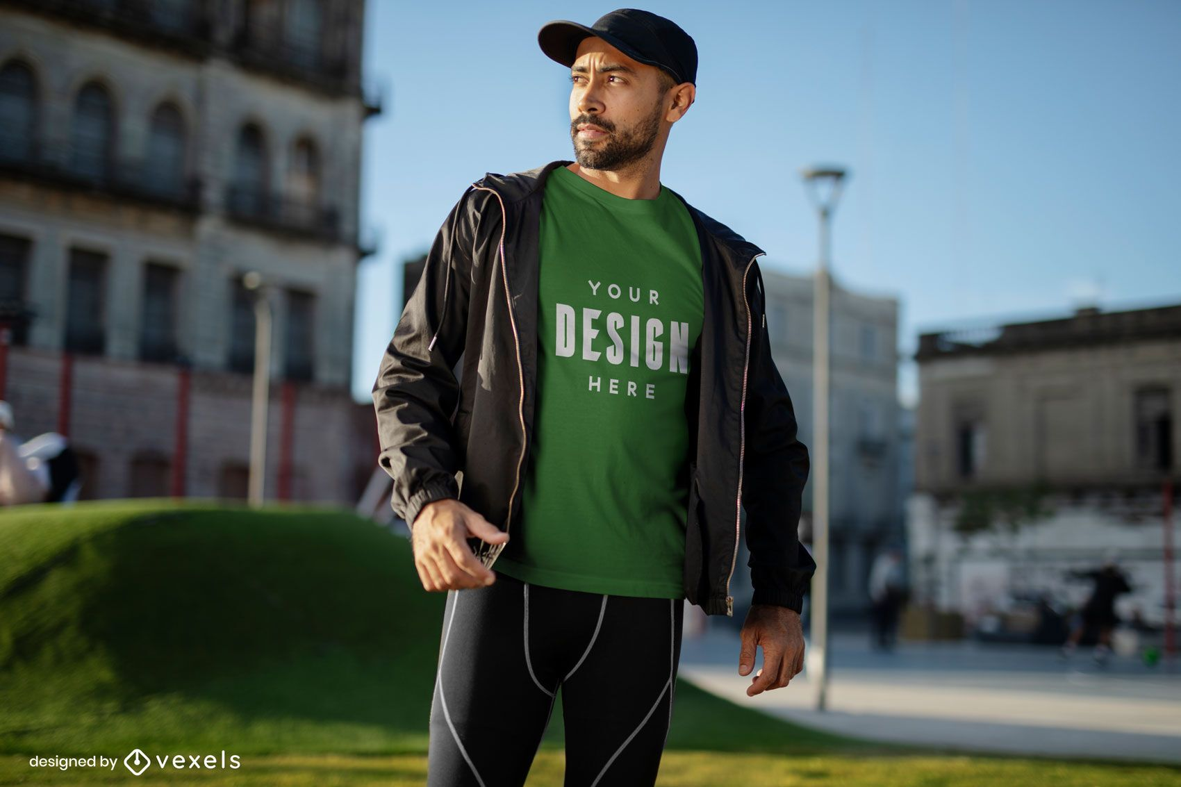 Fitness model in park t-shirt mockup