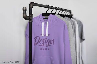 Close up hoodies on rack mockup design