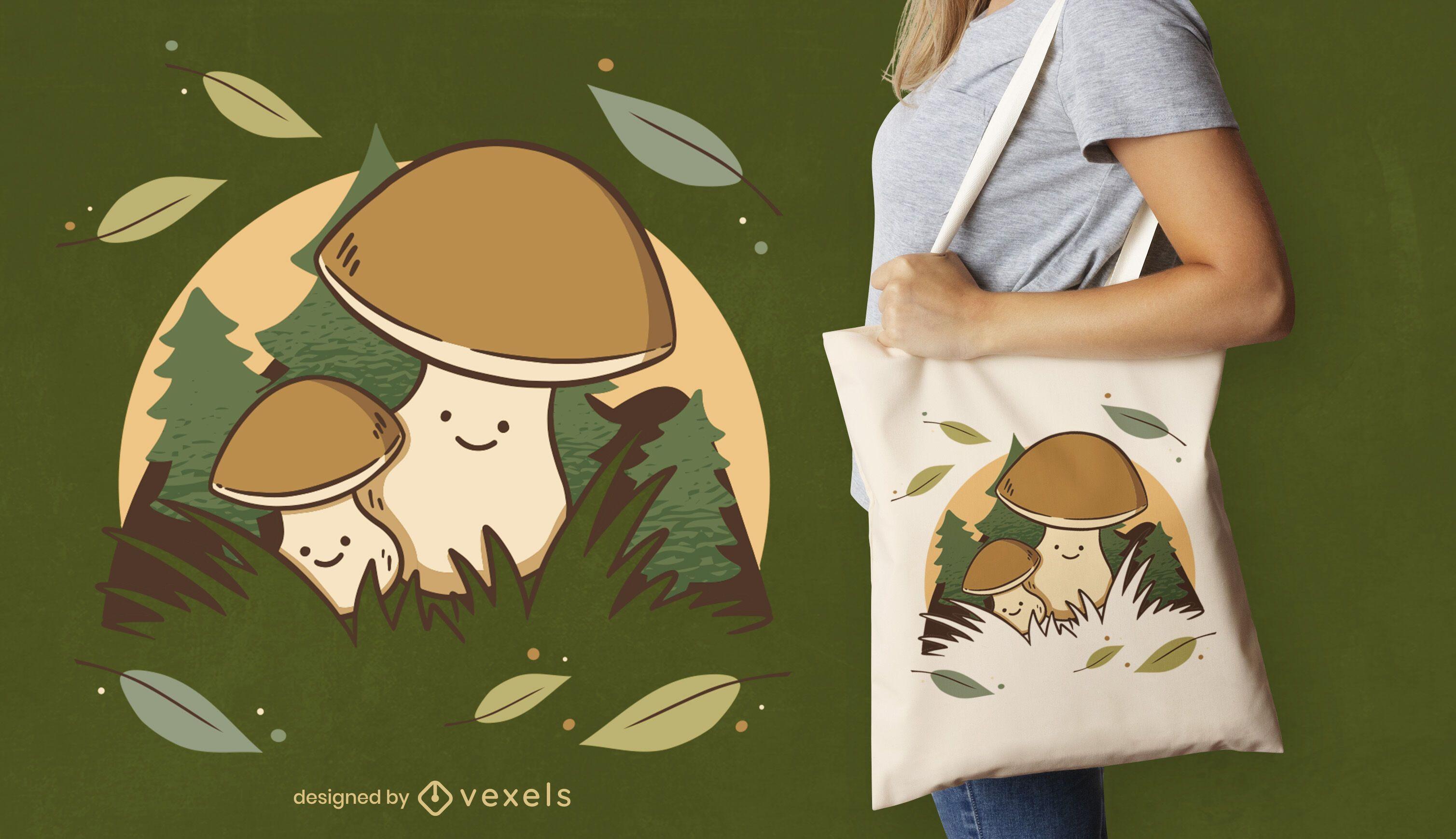 Süße Einkaufstasche mit Pilzcharakteren