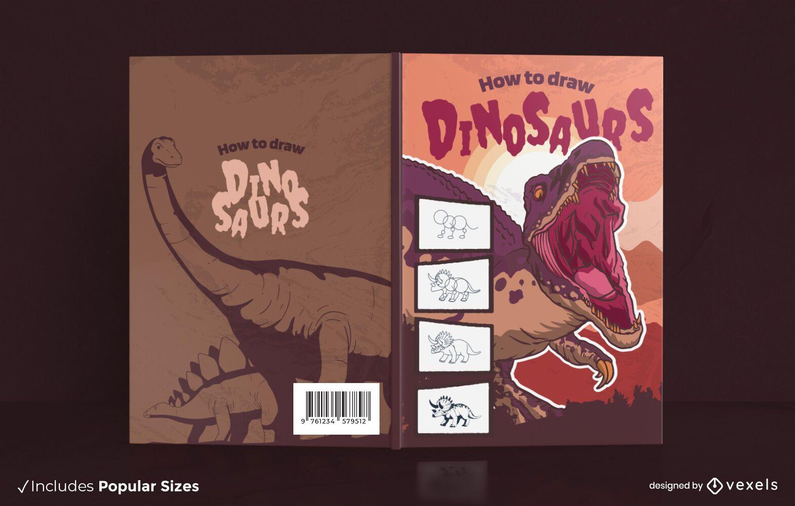 Diseño de portada de libro de dibujo de dinosaurio t-rex