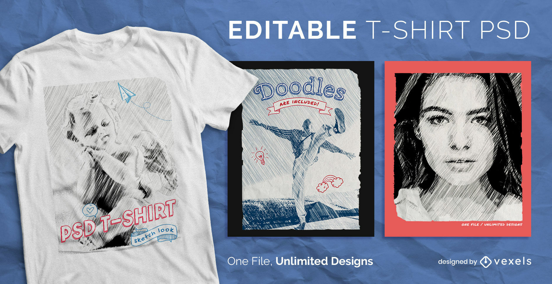 People sketches and doodles scalable t-shirt psd