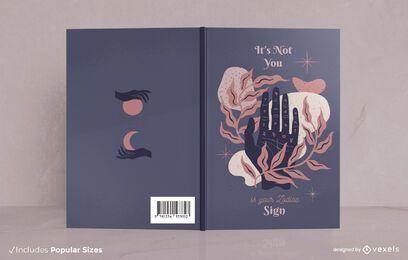 Cubierta de libro de mano abstracta de cita del zodiaco