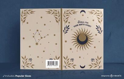 Lua do sol e capa de livro de texto místico