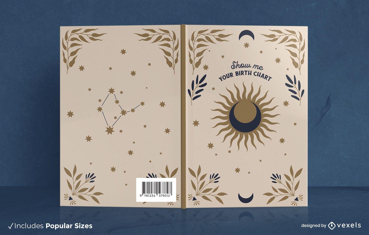 Portada del libro sol luna y texto místico.