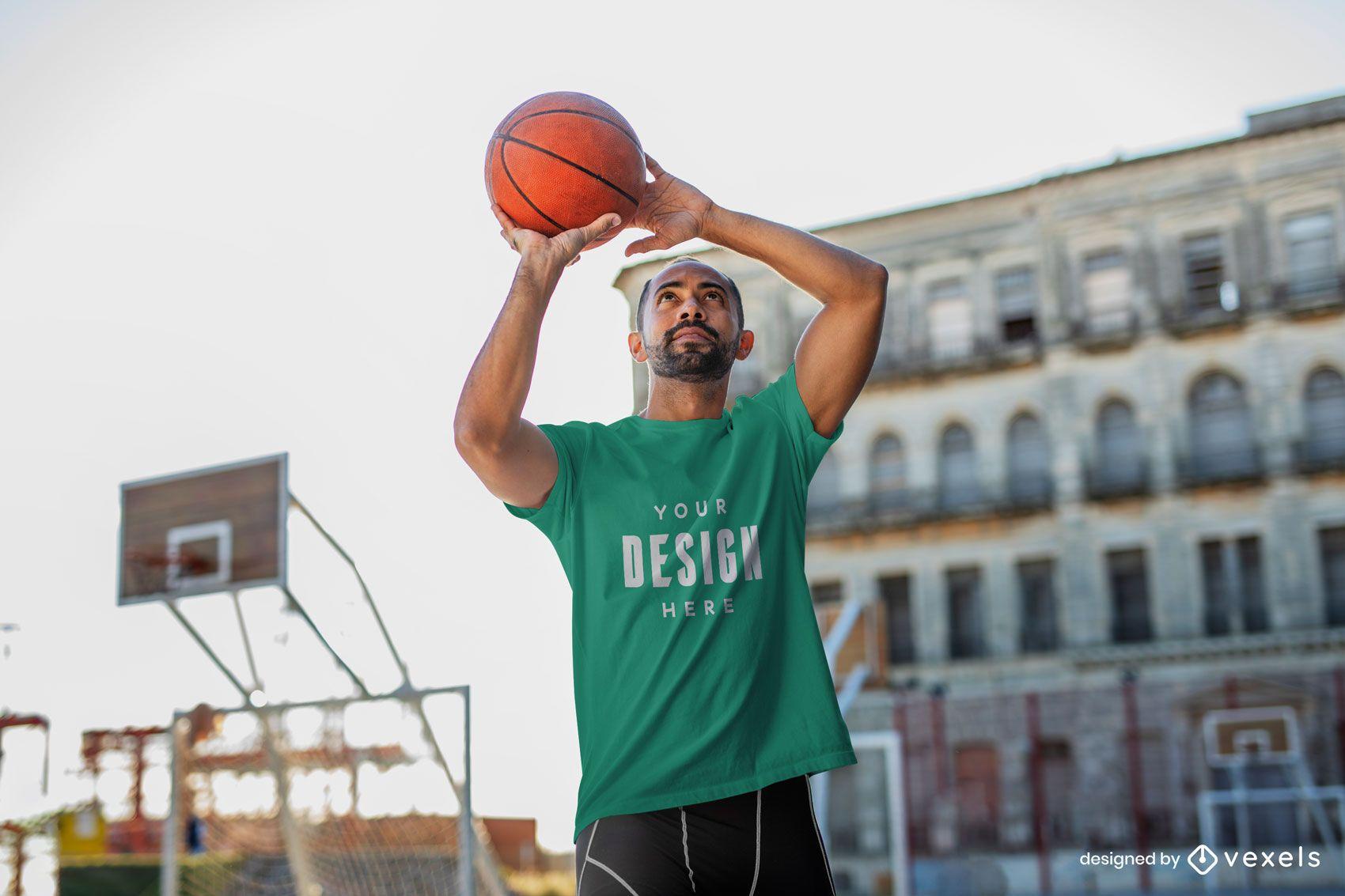Man playing basketball t-shirt mockup