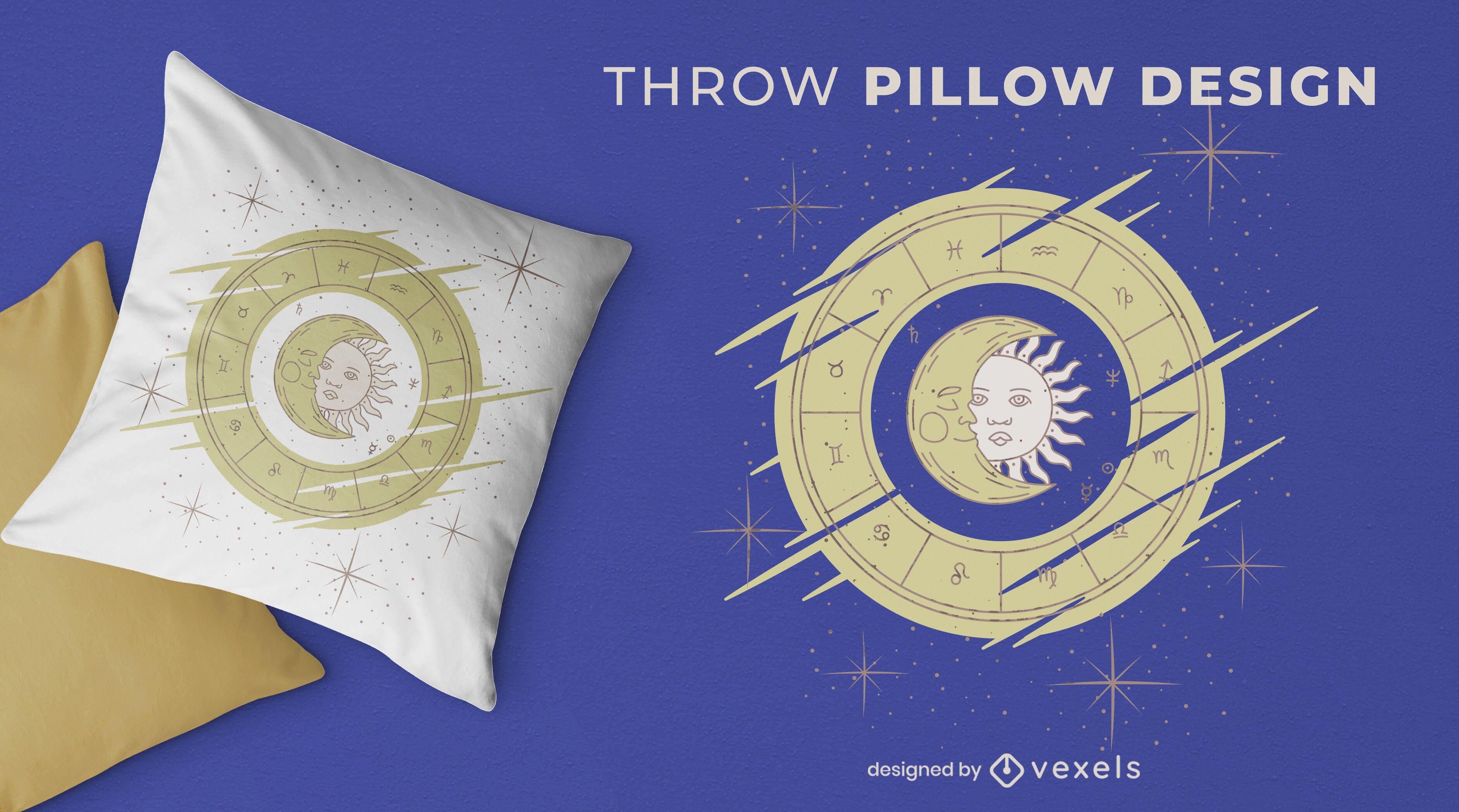 Zodiac sun and moon throw pillow design