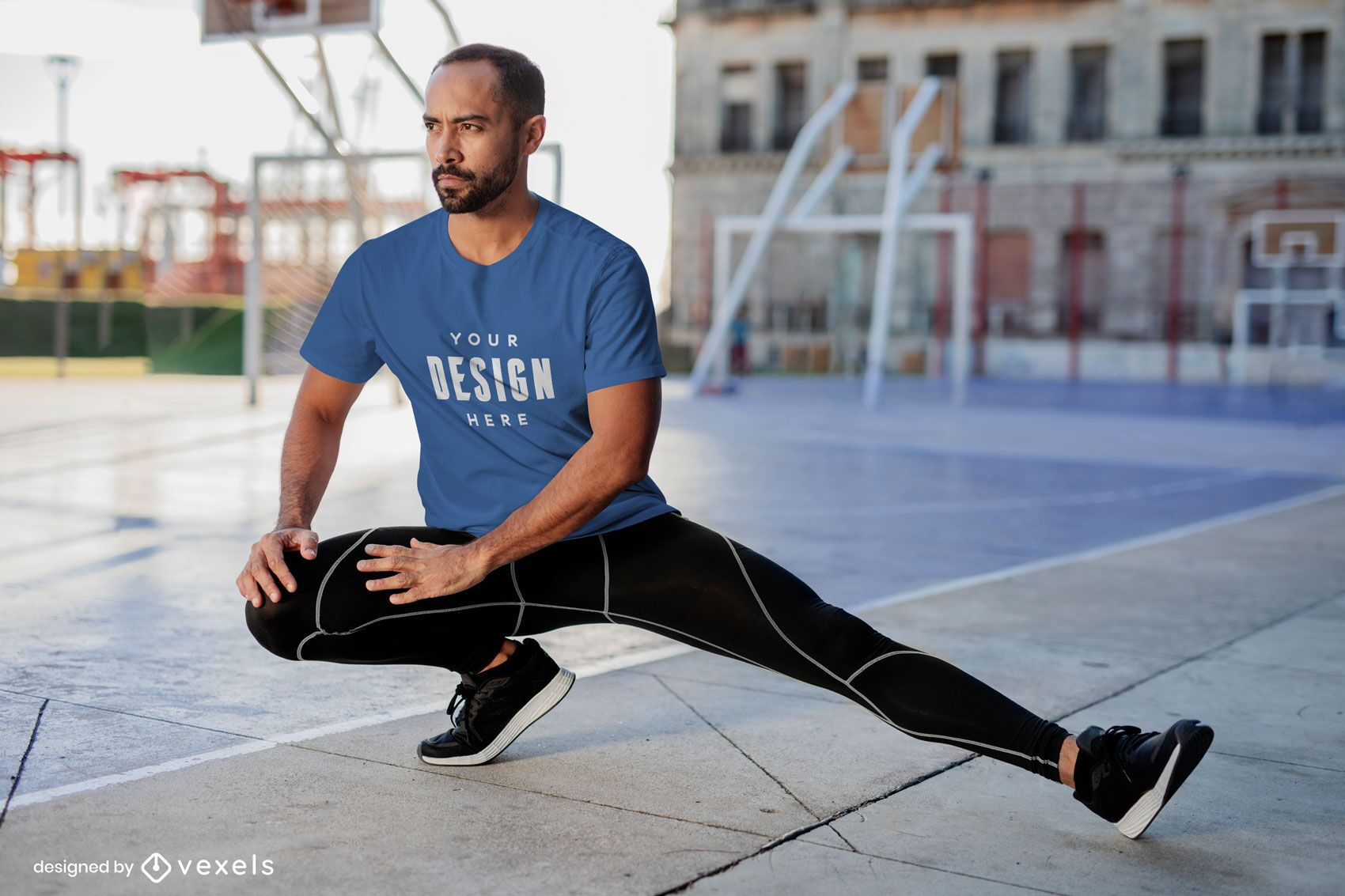 Stretching fitness model t-shirt mockup