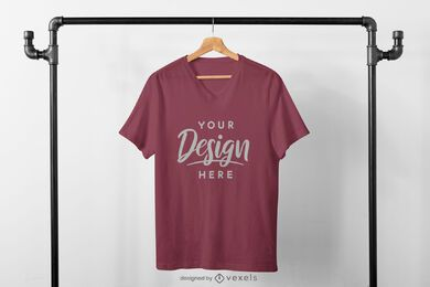 Centered t-shirt in clothing rack mockup