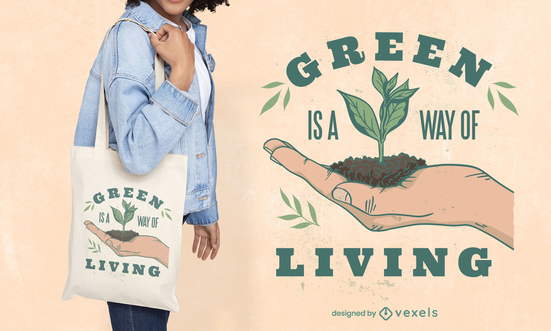 Bolso tote estilo de vida de plantas verdes