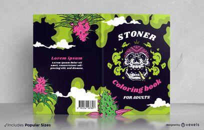 Marihuana skull coloring book cover design