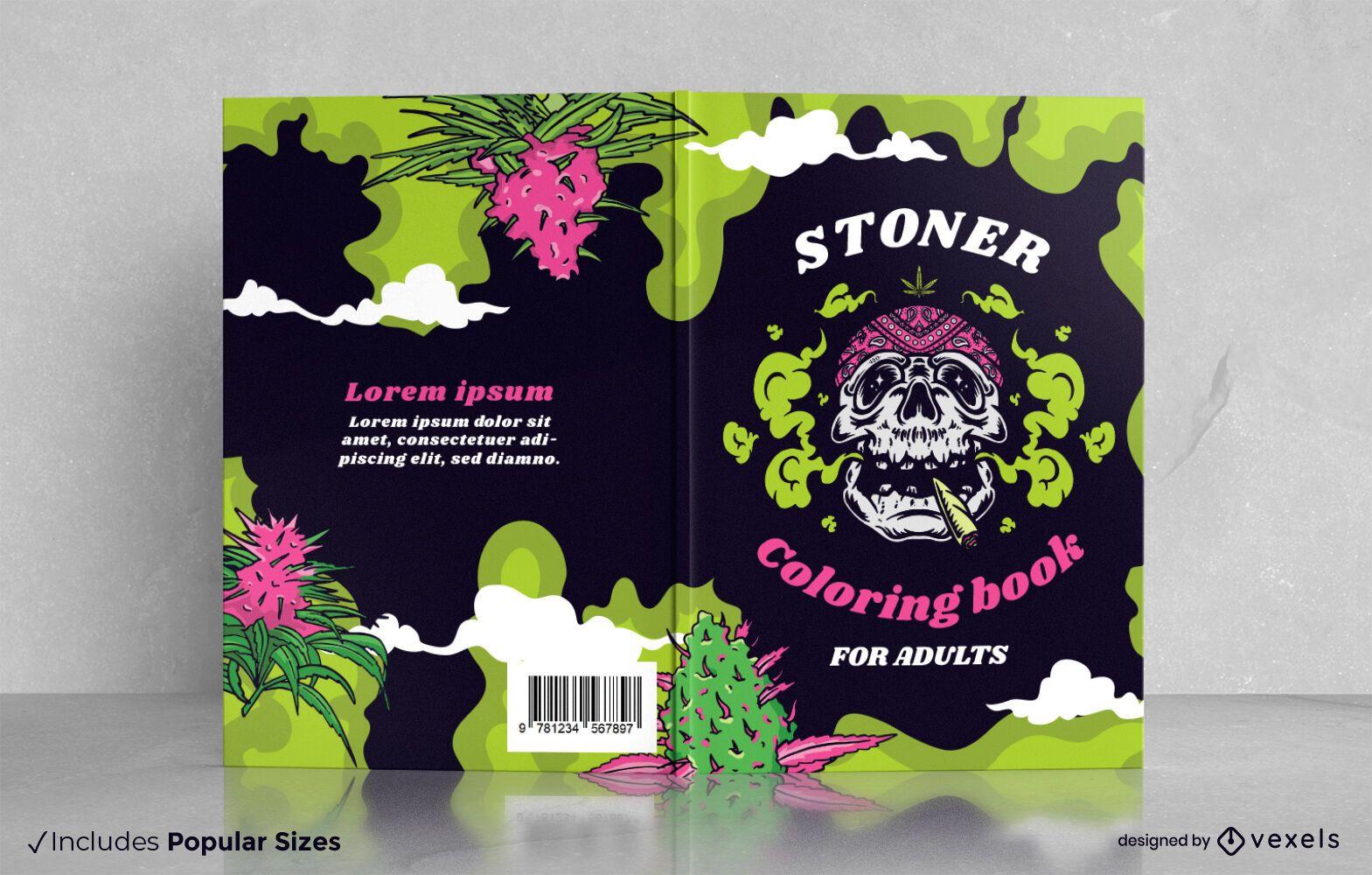 Diseño de portada de libro para colorear de calavera de marihuana