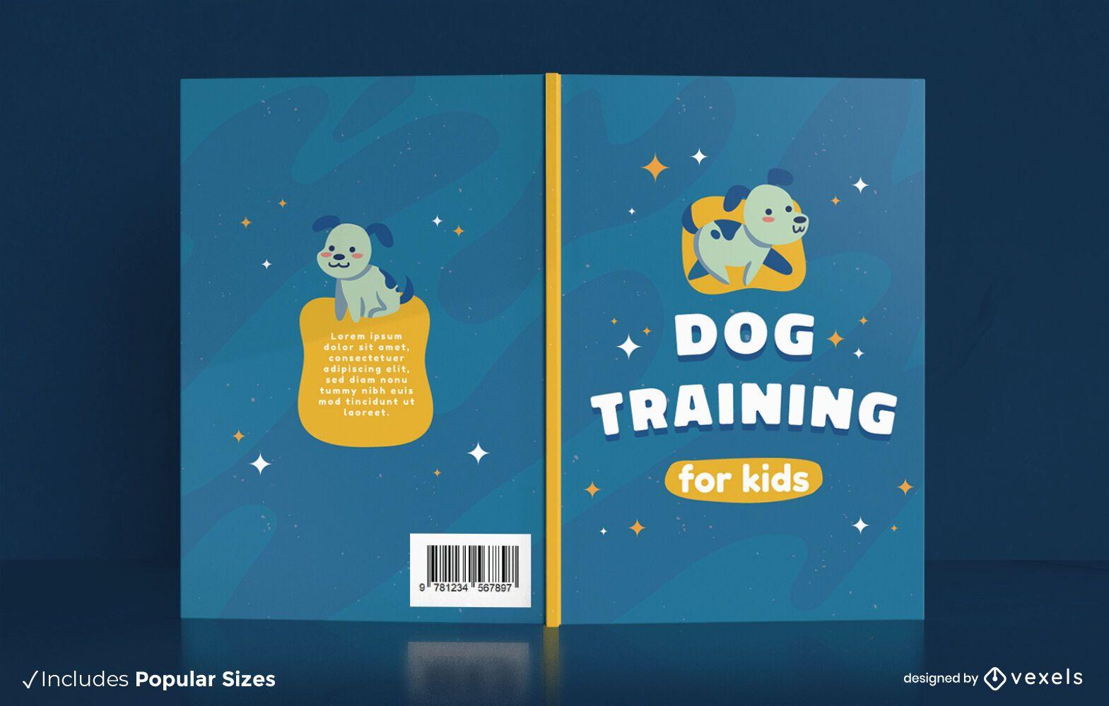 Diseño de portada de libro de adiestramiento animal lindo perro