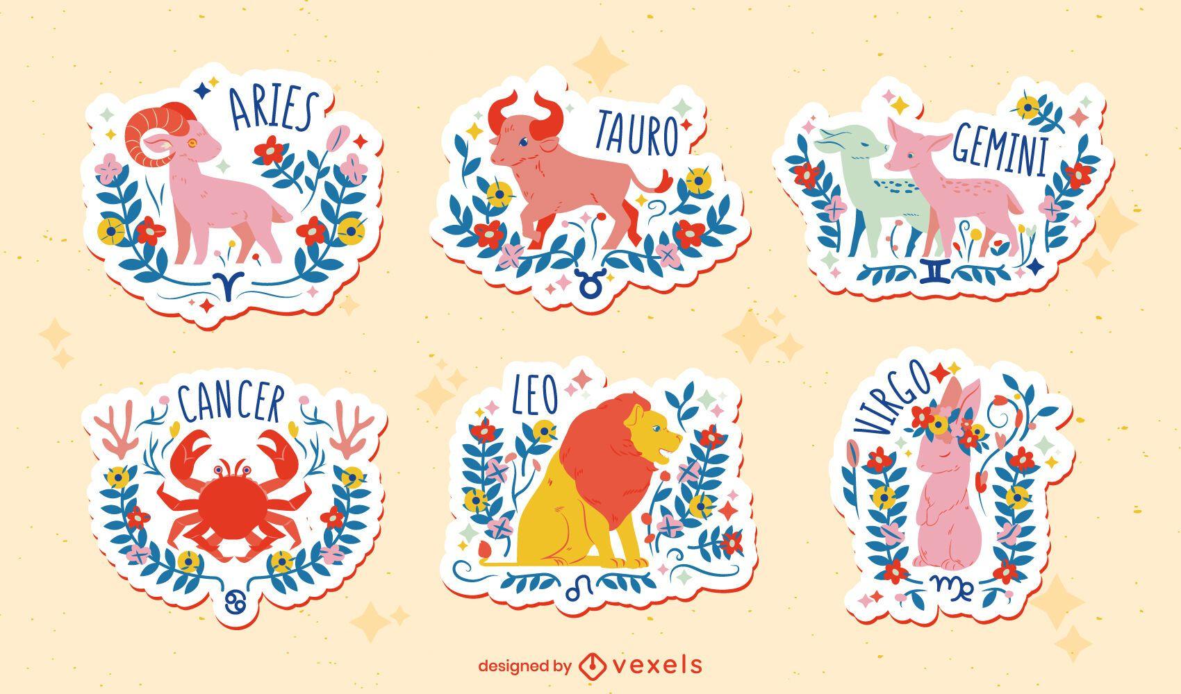 Conjunto de pegatinas zodiaco dibujado a mano plana