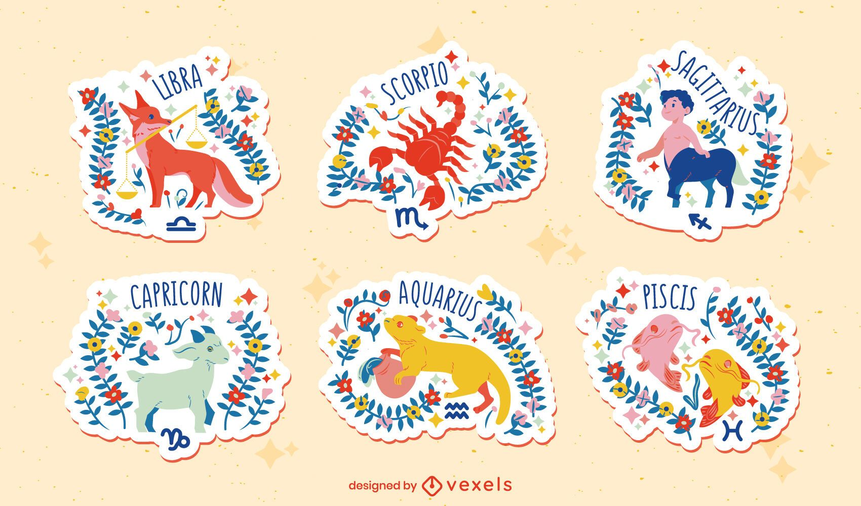 Handgezeichnetes flaches Tierkreis-Set von Aufklebern