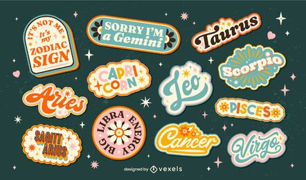 Awesome lettering zodiac sign badges