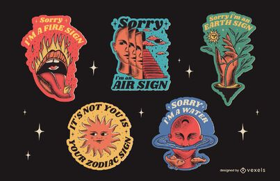Cool zodiac badges illustrations with quotes