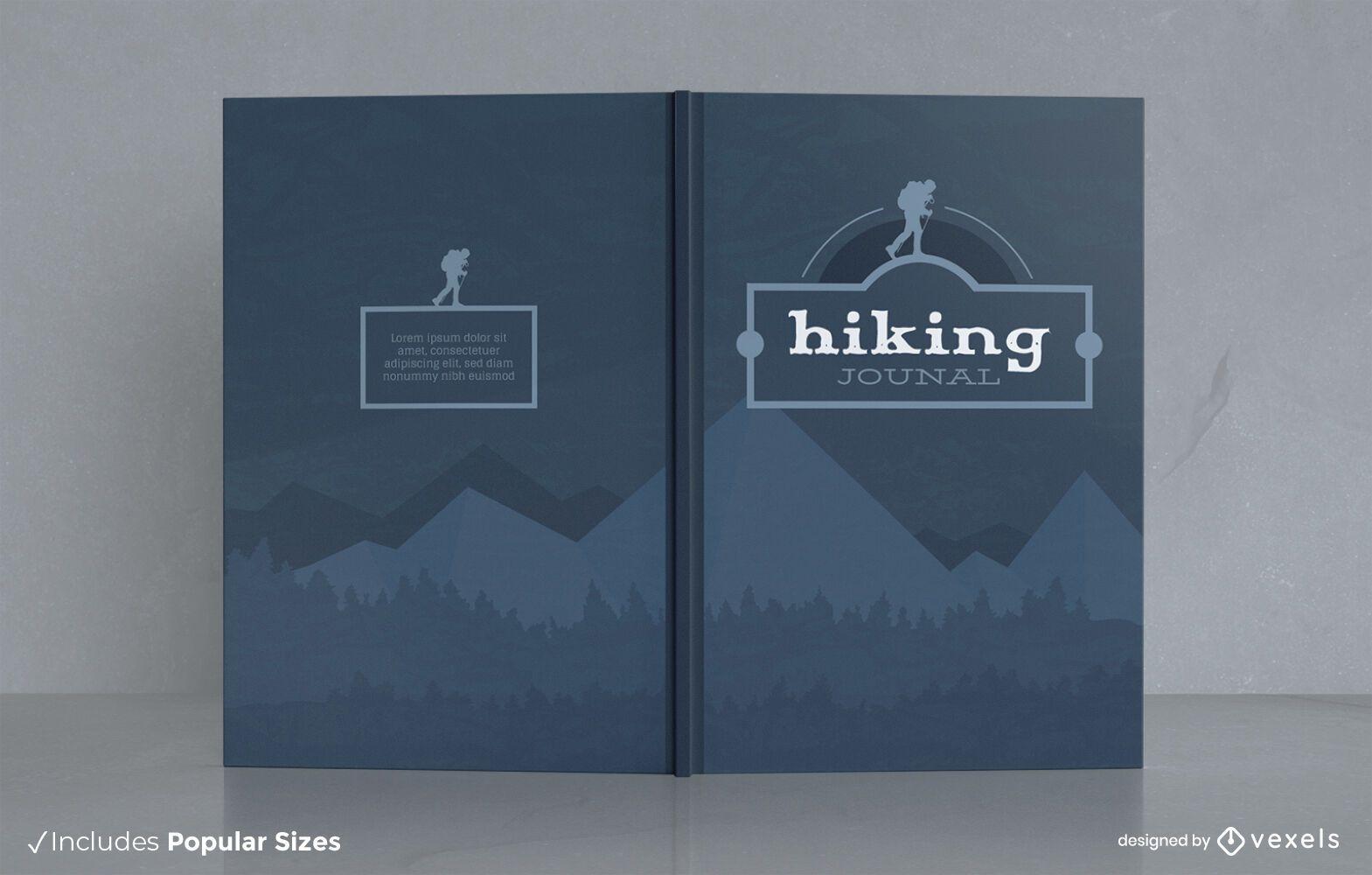 Senderismo hobby journal diseño de portada de la naturaleza