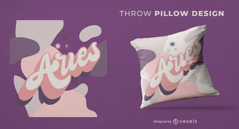 Aries lettering throw pillow