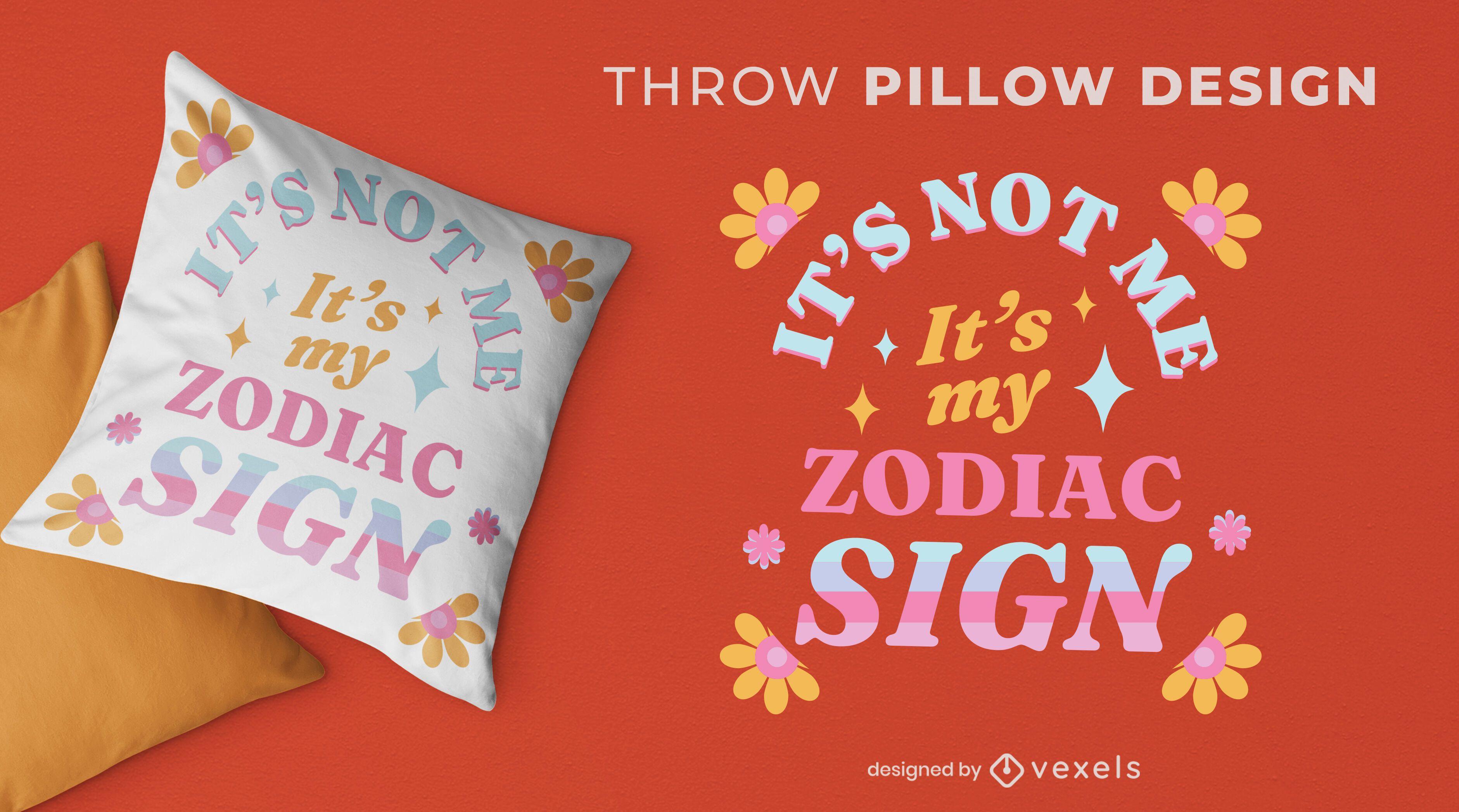 Design de almofada floral retro com signo do zodíaco