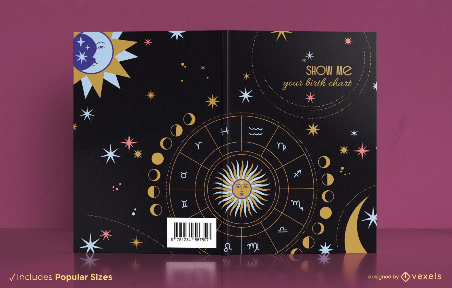 Diseño de portada de libro de constelación de signo del zodiaco