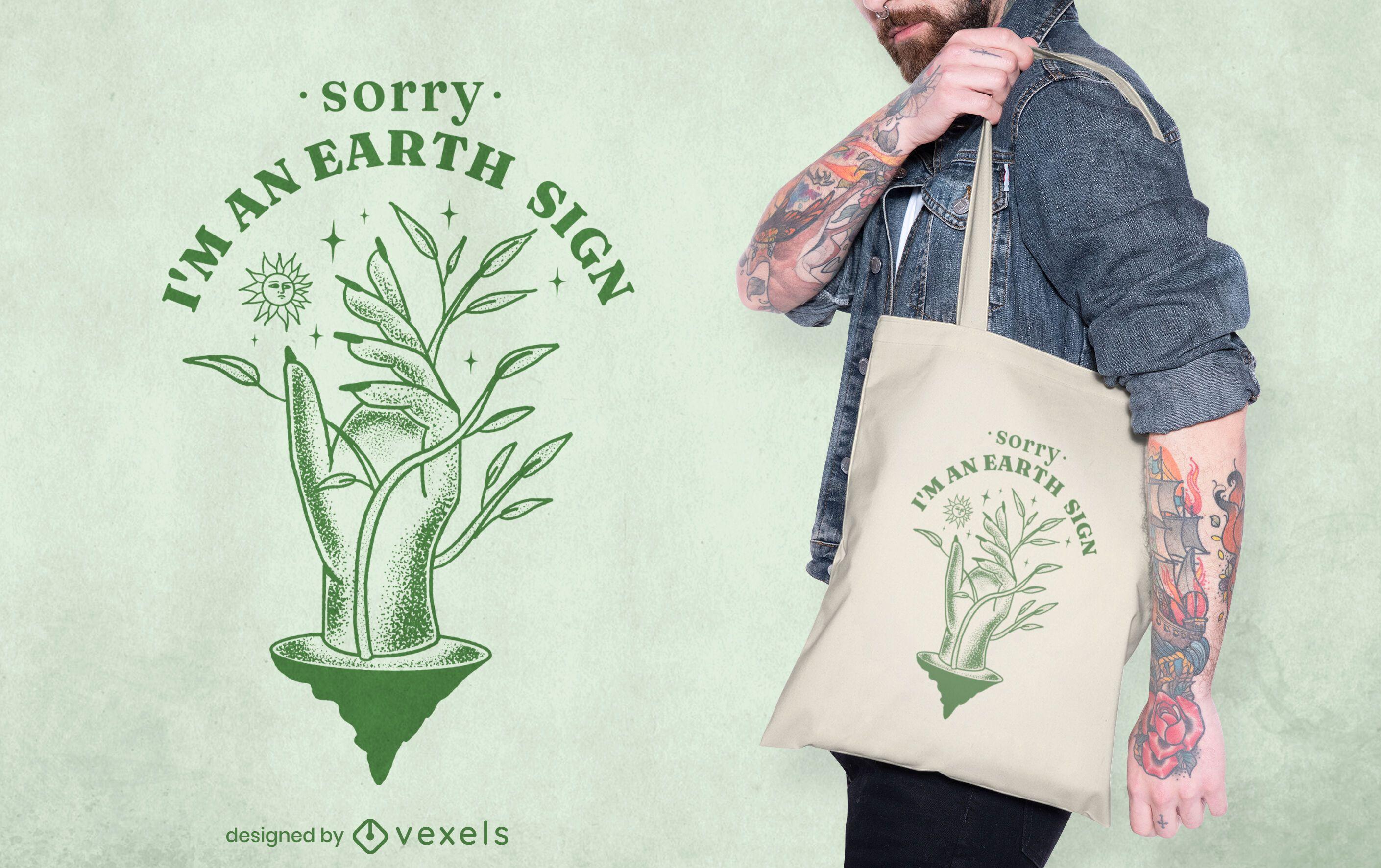 Design de sacola do zodíaco da natureza do signo de terra