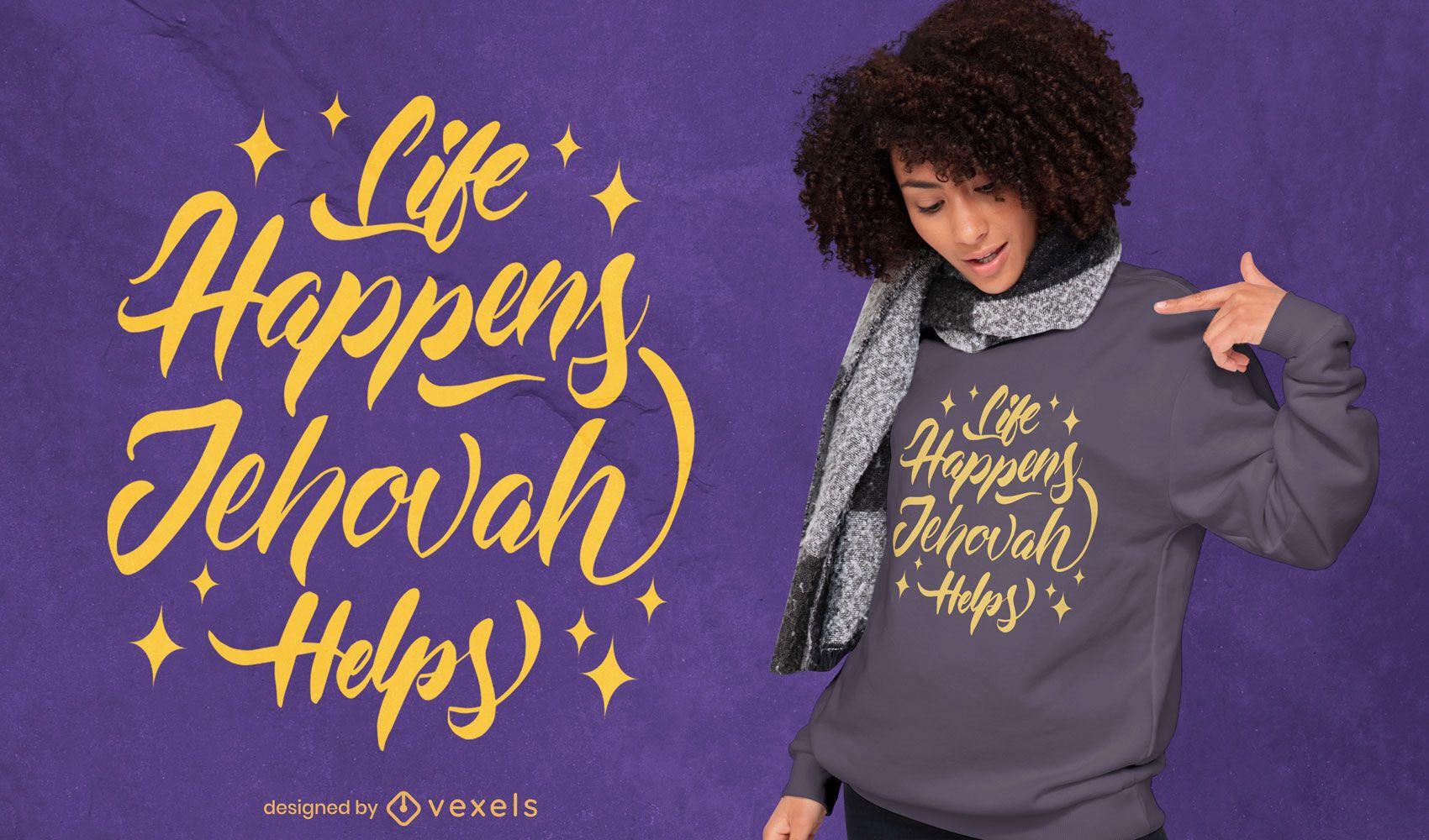 Diseño de camiseta con letras de cita religiosa