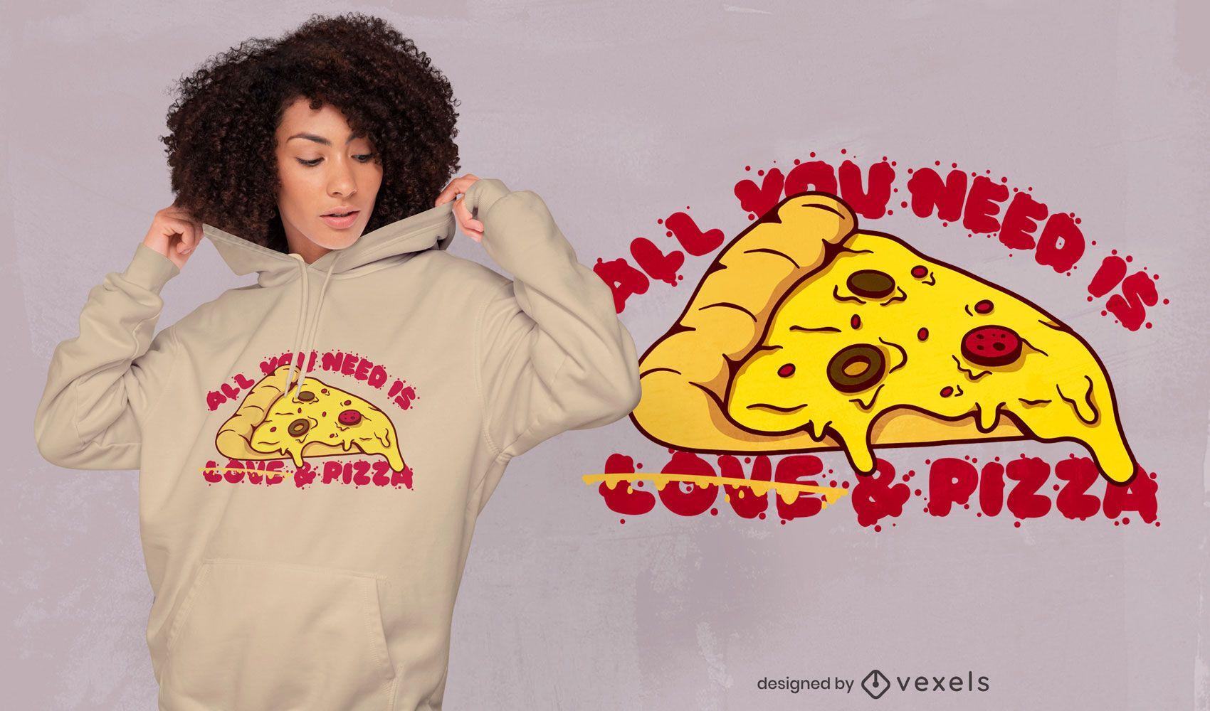 Design de t-shirt de amor de fatia de pizza