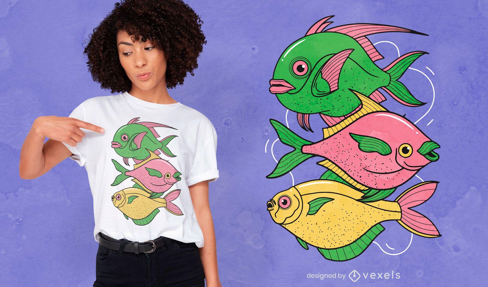 Three fishes t-shirt design