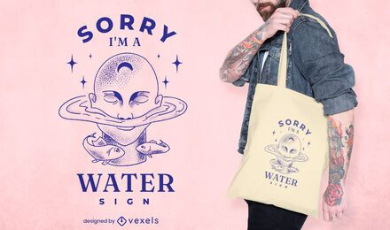 Diseño de la bolsa de asas del zodiaco de la naturaleza del signo de agua