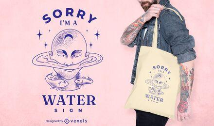 Water sign nature zodiac tote bag design
