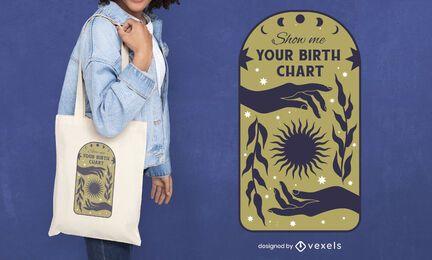 Diseño de la bolsa de asas del zodiaco de la cita de la carta natal