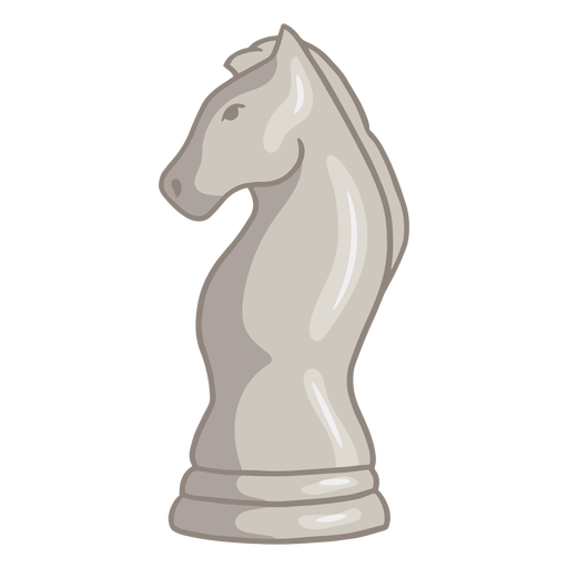 White knight chess piece color stroke
