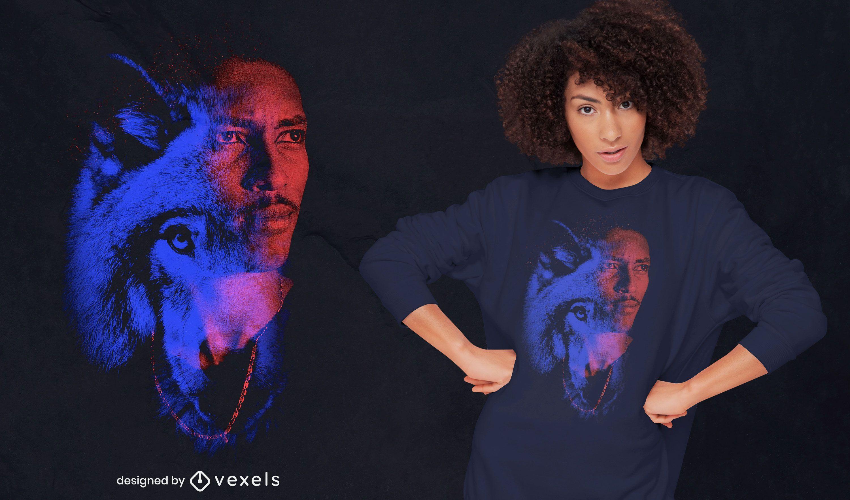 Diseño de camiseta psd de doble exposición hombre y lobo.