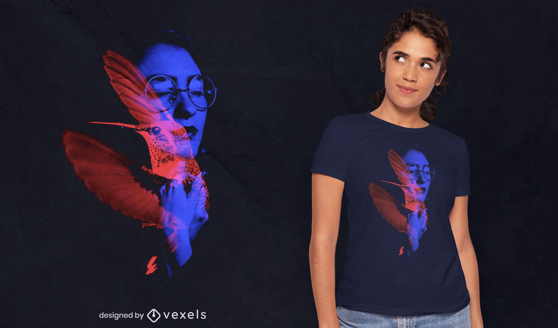 Diseño de camiseta psd mujer y colibrí.