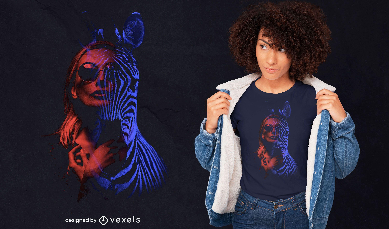 Design de camiseta psd de dupla exposição para mulher e zebra