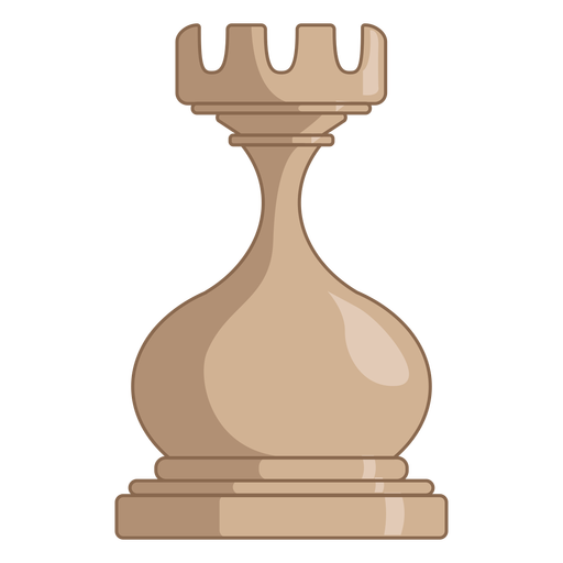 Rook chess piece white color stroke