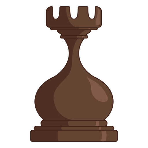 Rook chess piece brown color stroke