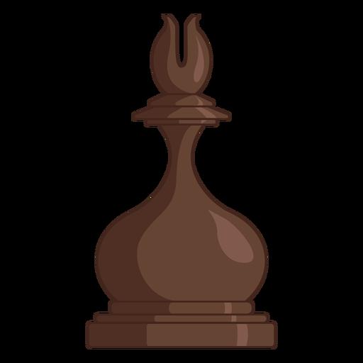 Bishop chess piece brown color stroke